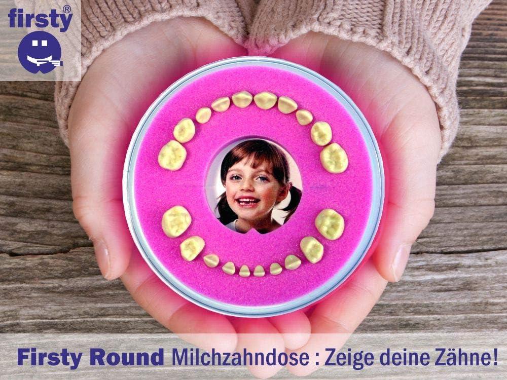 Avec livret allemand et autocollant Hurra Firsty Bo/îte /à dents de lait ronde rose, fille