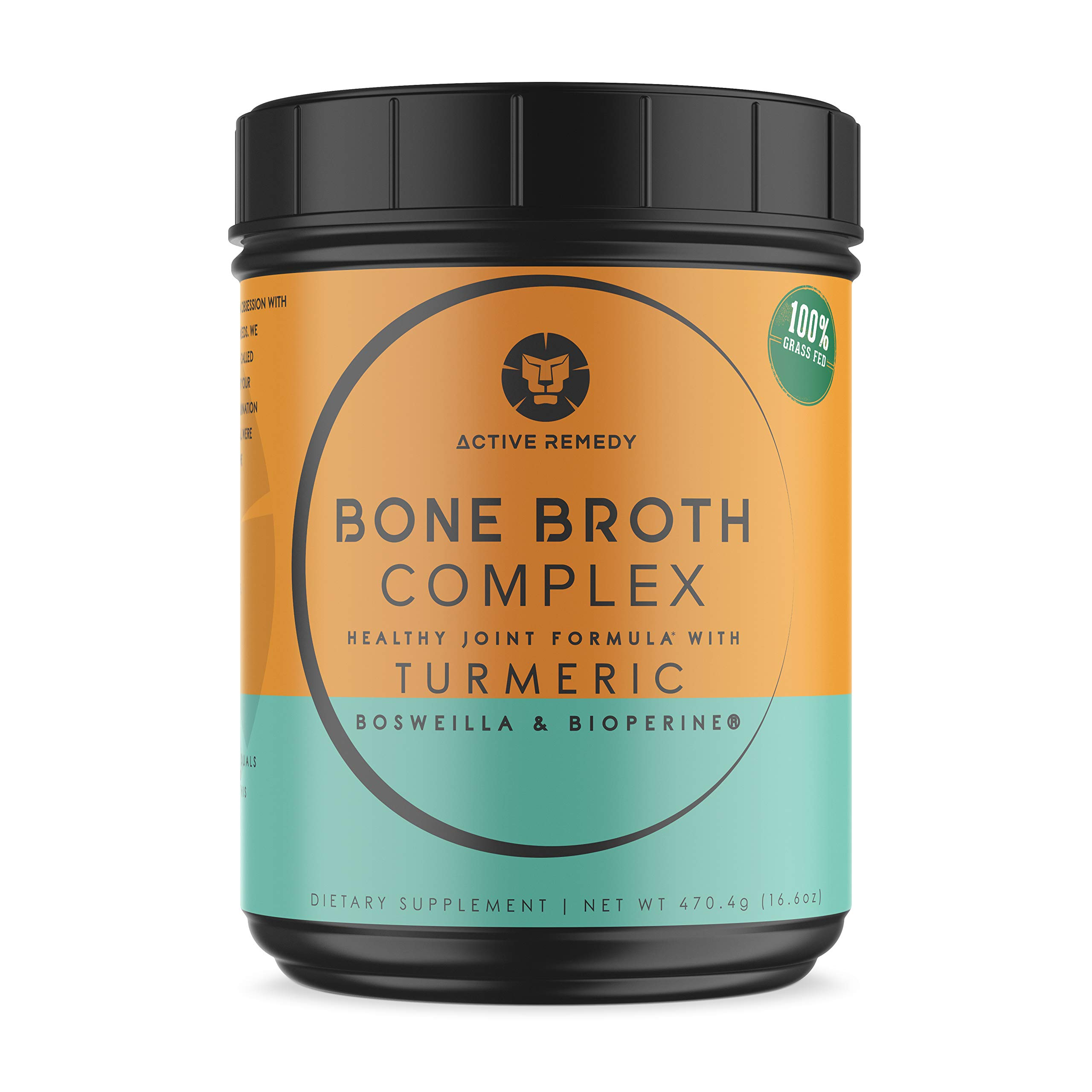Grass-fed Bone Broth Protein Powder - Unique Joint Support Formula with Turmeric Curcumin, BioPerine & Boswellia -Collagen Peptides - Paleo & Keto by Active Remedy