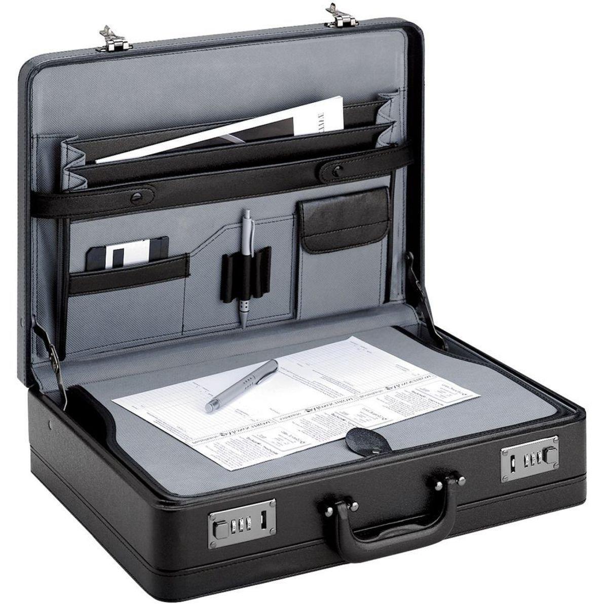 Aktenkoffer Business Koffer 46x33x12cm Schwarz extra breit Dehnfalte Erweiterbar mit Schreibplatte Bowatex
