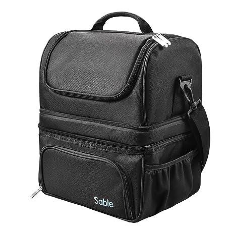Sable Bolsa Térmica 22L con 3 Compartimentos Espaciosos en Calientes y Fríos, Lunch Bag Aislamiento