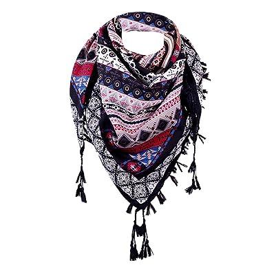 0a405e37024d Foulards Femme, Kolylong Fashion Tassel Lace Sheer Burntout Imprimé Floral  Triangle Mantilla ÉCharpe ChâLe Modèle