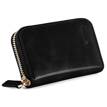 Womens Black Metal Zipper-around Nice Quality Soft Genuine Leather Wallet