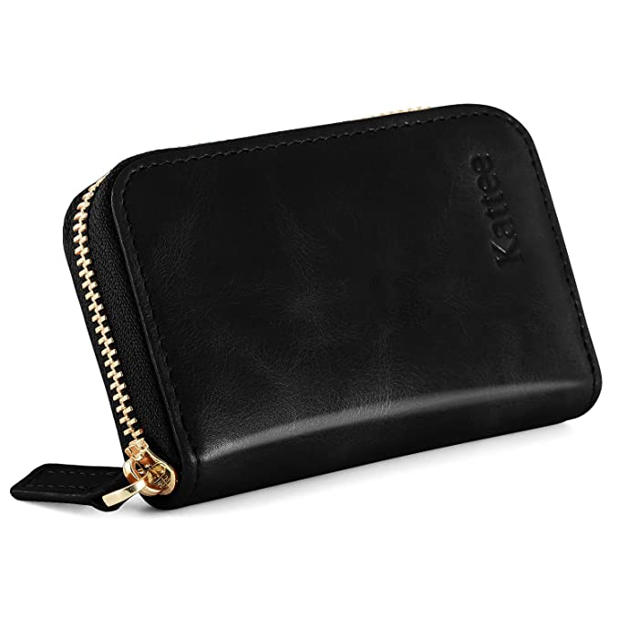 dded1c5c7b82 Kattee Women's RFID Blocking Small Compact Credit Card Holder Leather  Zipper Pocket Wallet