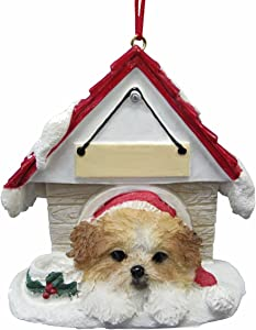 """Shih Tzu, Tan & White Puppycut Ornament A Great Gift For Shih Tzu, Tan & White Puppycut Owners Hand Painted and Easily Personalized """"Doghouse Ornament"""" With Magnetic Back"""