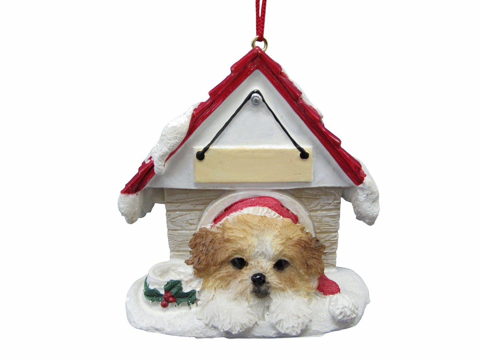 Shih-Tzu-Tan-White-Puppycut-Ornament-A-Great-Gift-For-Shih-Tzu-Tan-White-Puppycut-Owners-Hand-Painted-and-Easily-Personalized-Doghouse-Ornament-With-Magnetic-Back