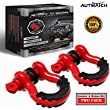 """AUTMATCH Shackles 3/4"""" D Ring Shackle (2 Pack) 41,887Ib Break Strength with 7/8"""" Screw Pin and Shackle Isolator & Washers Kit"""