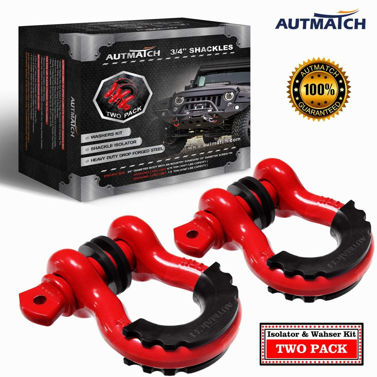 Autmatch Shackles 3/4'' D Ring Shackle (2 Pack) 41,887Ib Break Strength with 7/8'' Screw Pin and Shackle Isolator & Washers Kit for Tow Strap Winch Off Road Towing Accessory Jeep Vehicle Recovery Red