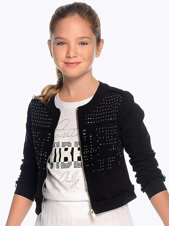 Mayoral Black Twill Jacket Applique for Girls 6408