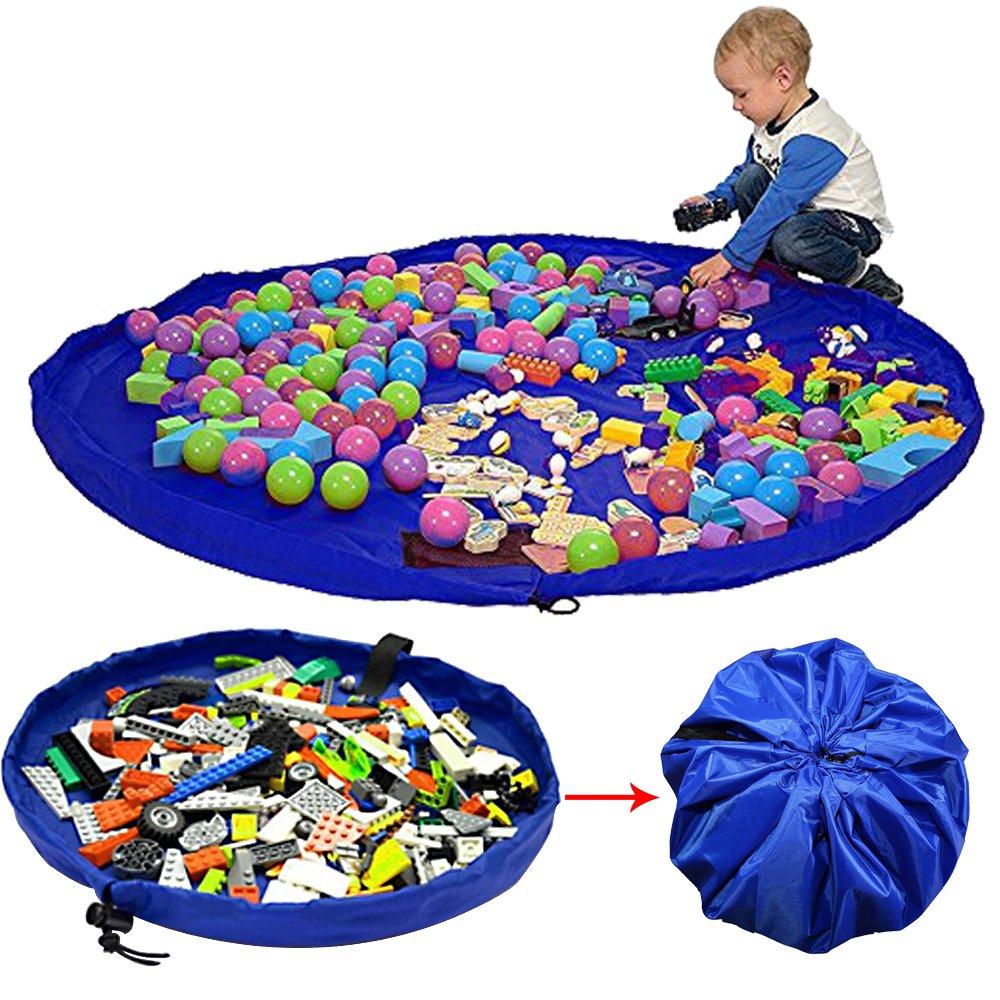 Fanme Kinder Aufräumsack Spieldecke Spielzeug Speicher Tasche Aufbewahrung Beutel Spielzeugaufbewahrung XL - 150cm (Blau)