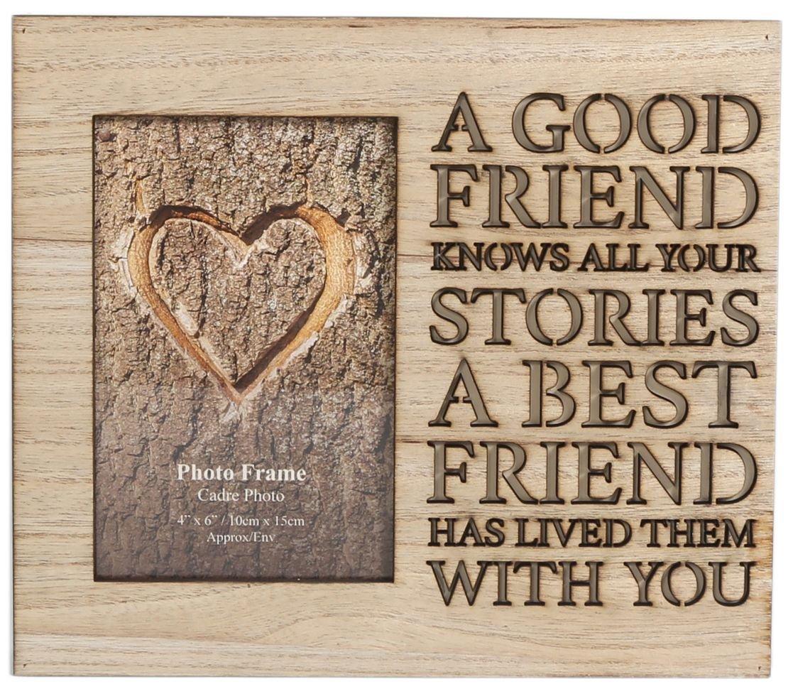 Cornice portafoto in legno,con scritta intagliata, tema: amicizia, 4 x 6 tema:amicizia 4x 6 Carousel Home