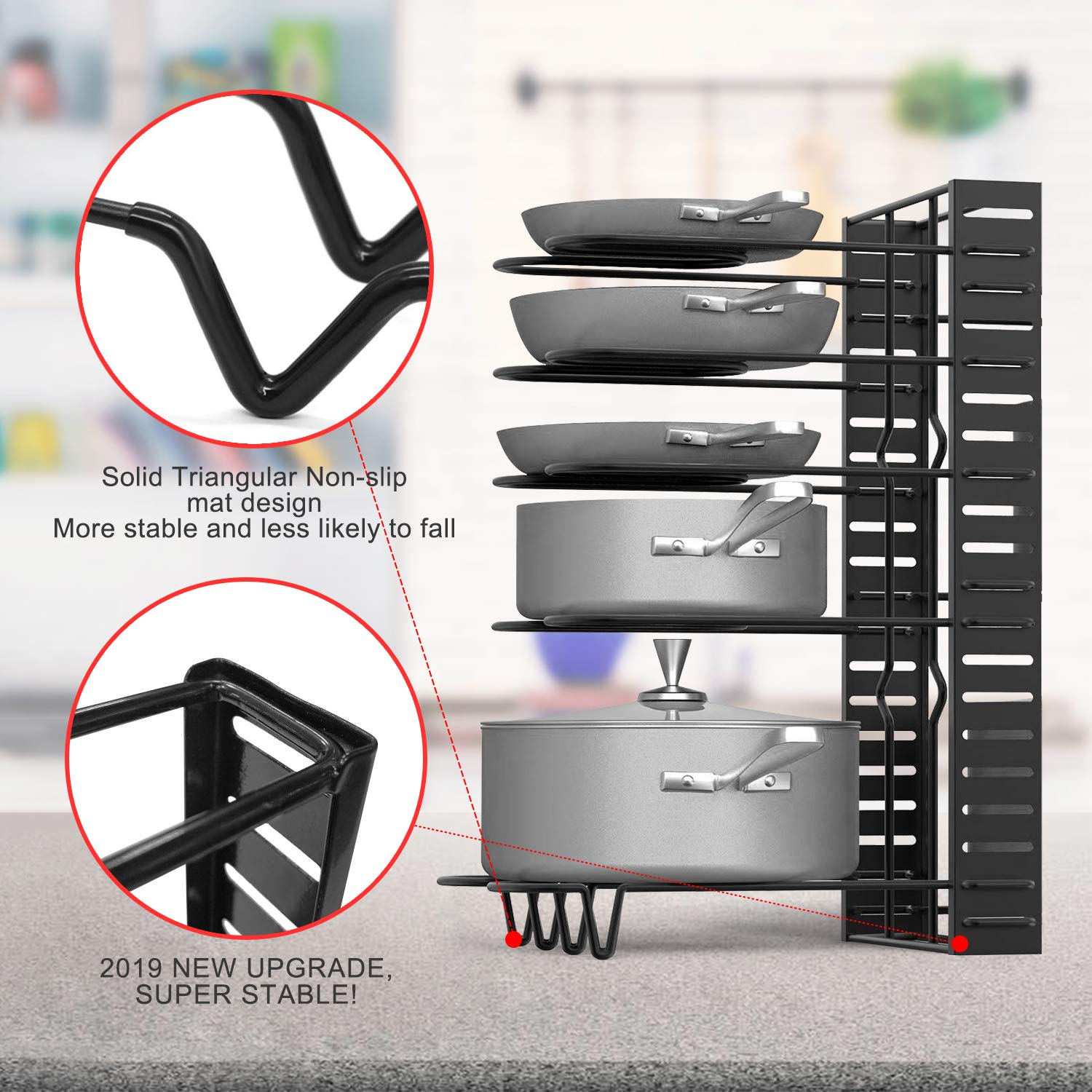 Lid Organizer Pot Holder Rack Fit for Kitchen Counter and Cabinet Pot Rack Organizers Duerer 8 Tiers Adjustable Height and Position Pots /& Pans Organizer with 3 DIY Methods Black, 2019 Upgraded