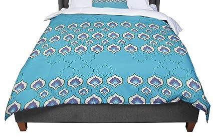 KESS InHouse Fernanda Sternieri Happy Path Blue Pattern Queen Comforter 88 X 88