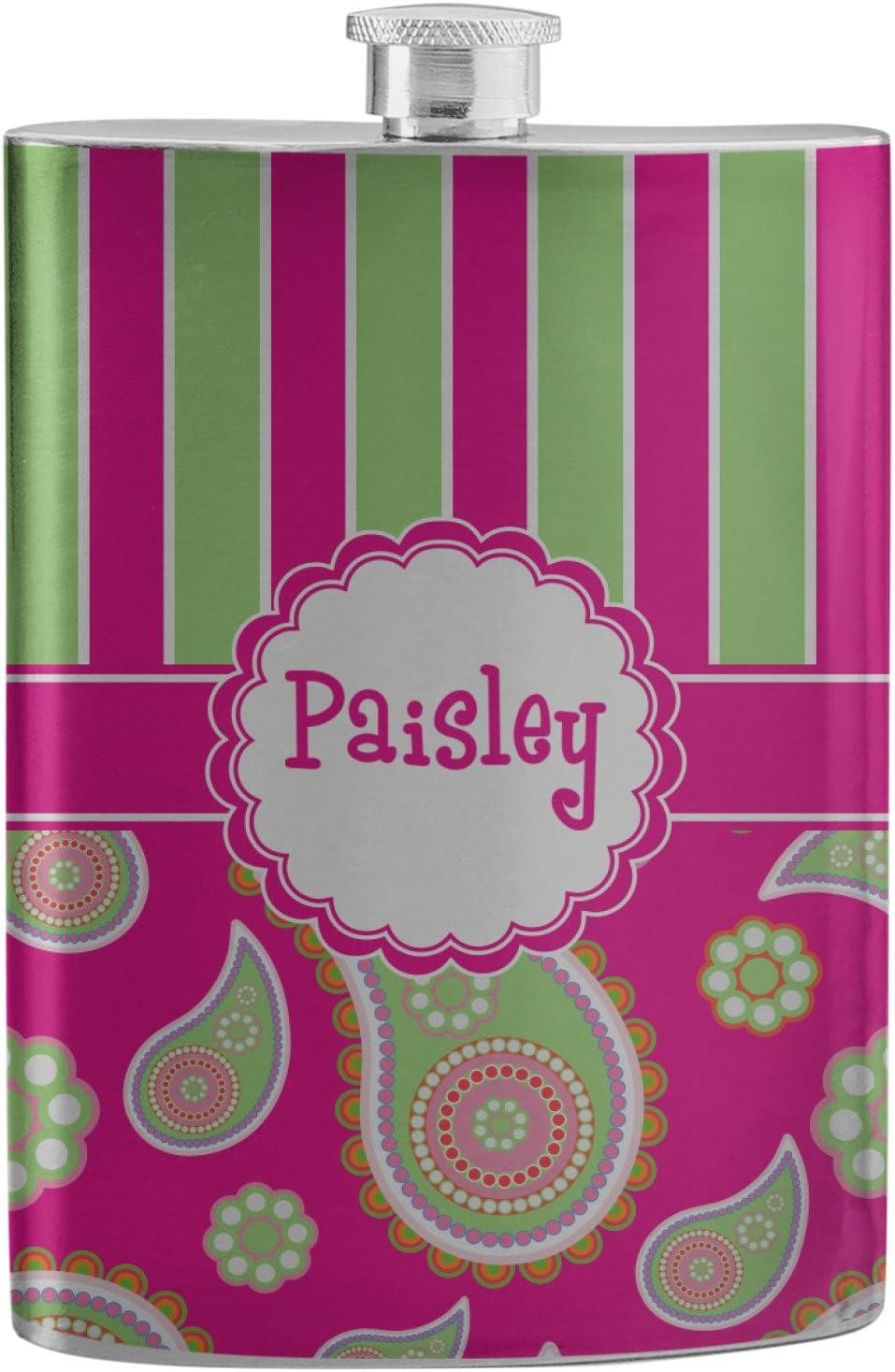 ピンク&グリーンペイズリーとストライプステンレススチールフラスコ( Personalized )