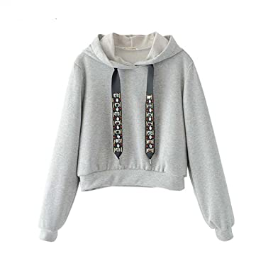 Mistere Fashion Women Casual Hooded Short Diamond Tie Long Sleeve Black Gray Pullover Ladies Autumn Tops