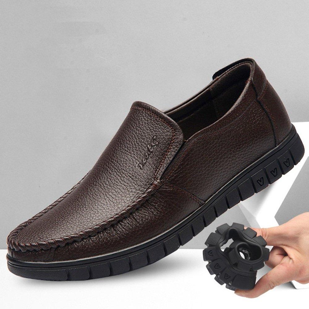 Easy Go Shopping Lederschuhe Herren Lederschuhe aus Echtem Rindsleder Soft Obermaterial Slip on Flat Soft Rindsleder Sohle Loafer für Herren Dark Bn 5da740