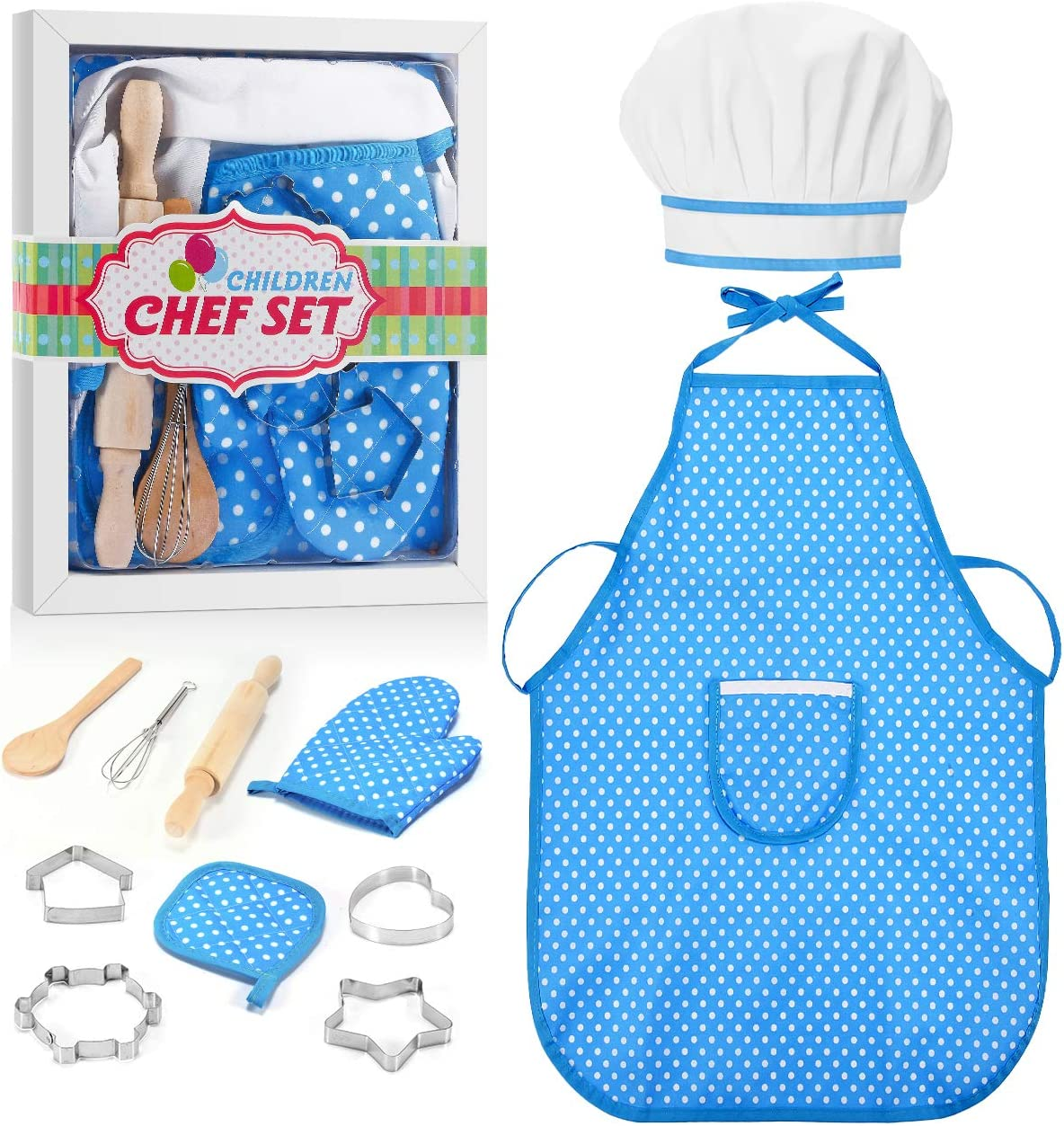 ATOPDREAM Kids Apron 11 Pcs Kids Cooking Supplies Includes Baking Set Chef Hat and Apron for Girls, Oven Mittand Baking Tools for Kids Cooking Girls Age 9-12, Blue