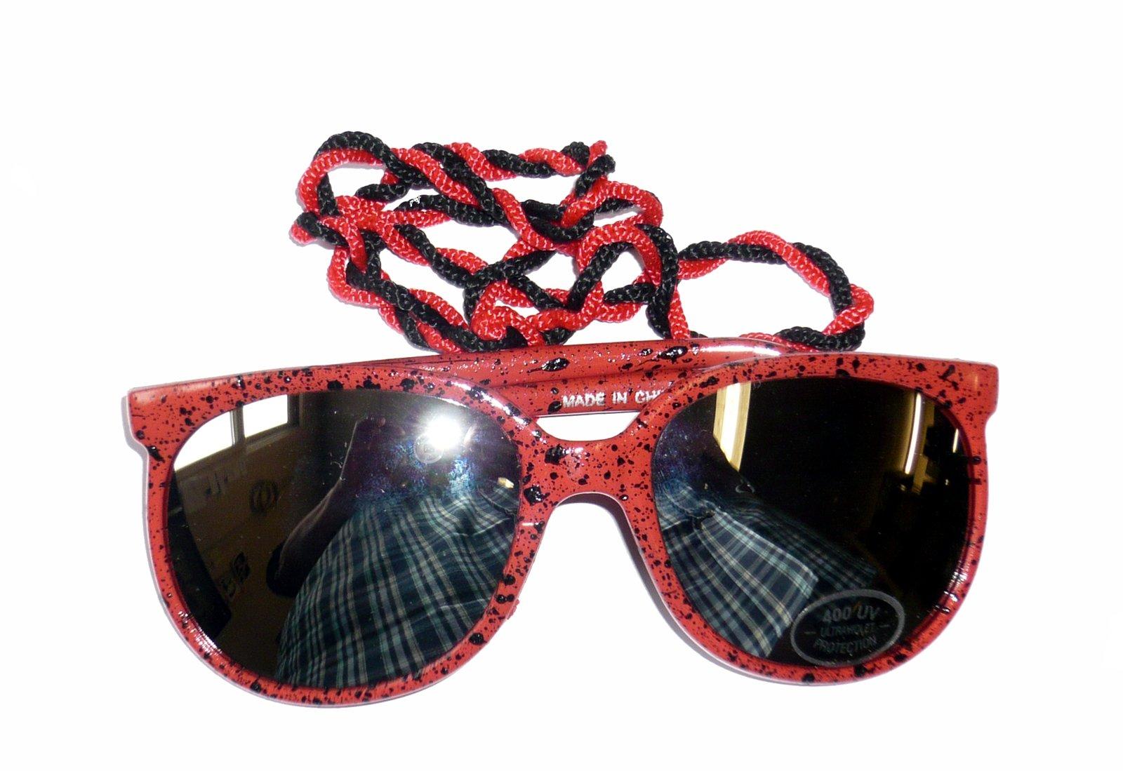 NECOR/26 (Neon Orange) Two Pair Deal 80s Sunglasses With Cord