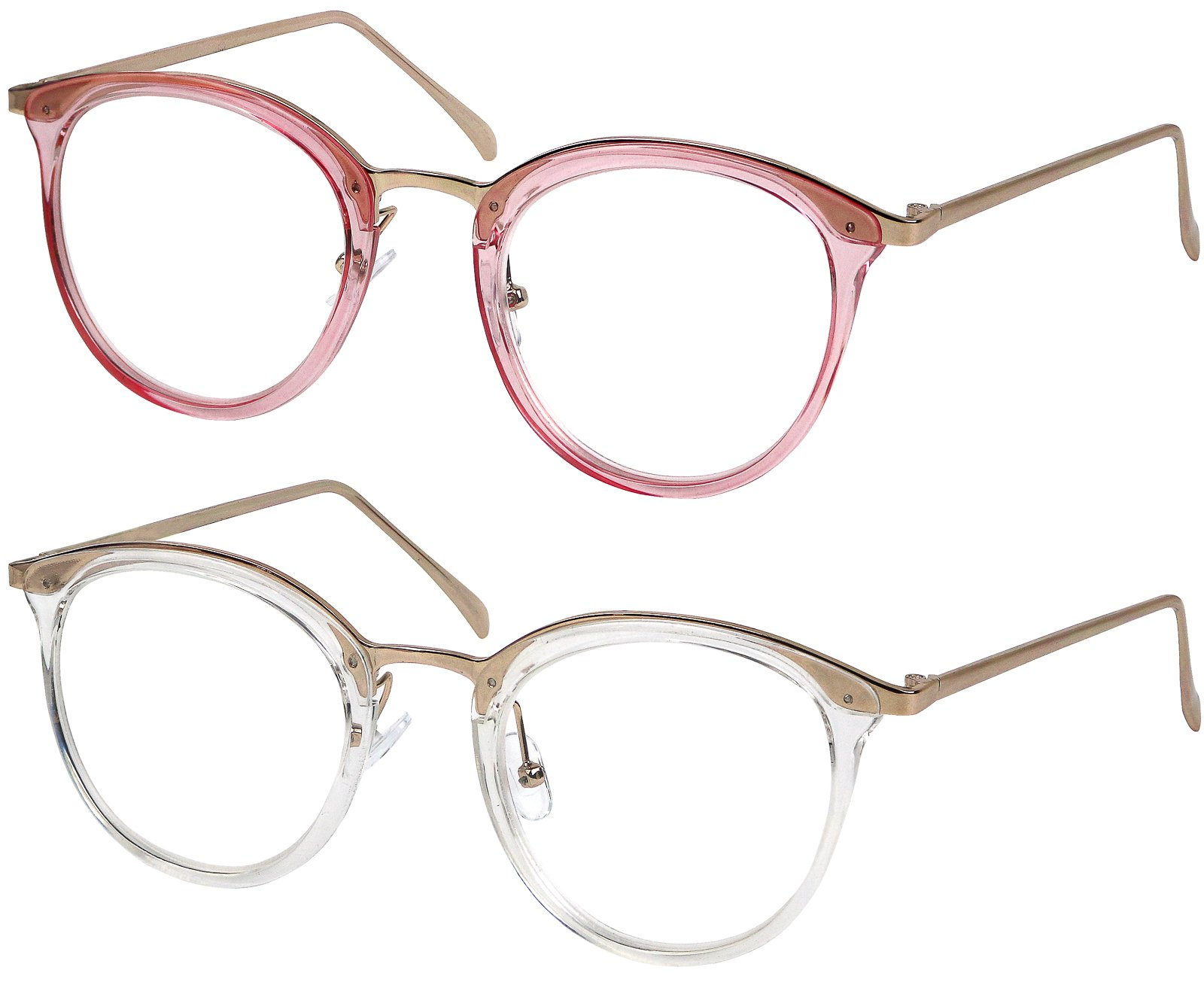 Reading Glasses Set of Pink and Clear Classic Elegant Glasses for Reading for Women +2.75