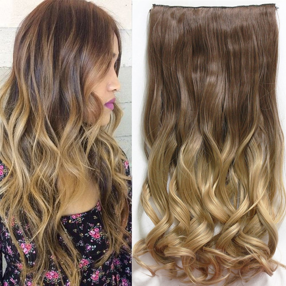 Neverland 24 Inches (60cm) Full Head Clip in Hair Extensions Ombre Wavy Curly Dip Dye 8#/24# NEVERLAND Beauty & Health