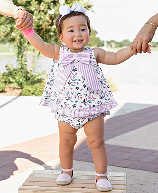 5e888def Amazon.com: RuffleButts Baby/Toddler Girls Open Back Swing Tank Top with  Bow: Clothing