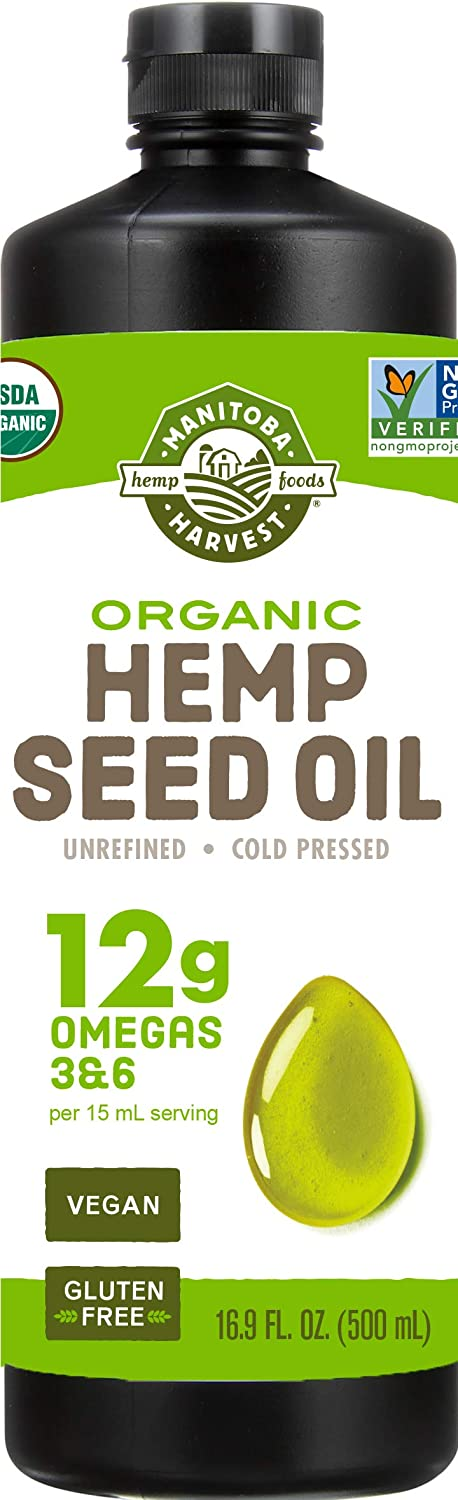 Manitoba Harvest Organic Hemp Oil, Cold Pressed, 12g of Omegas 3&6 Per Serving, Non-GMO, 16.9 Fl Oz