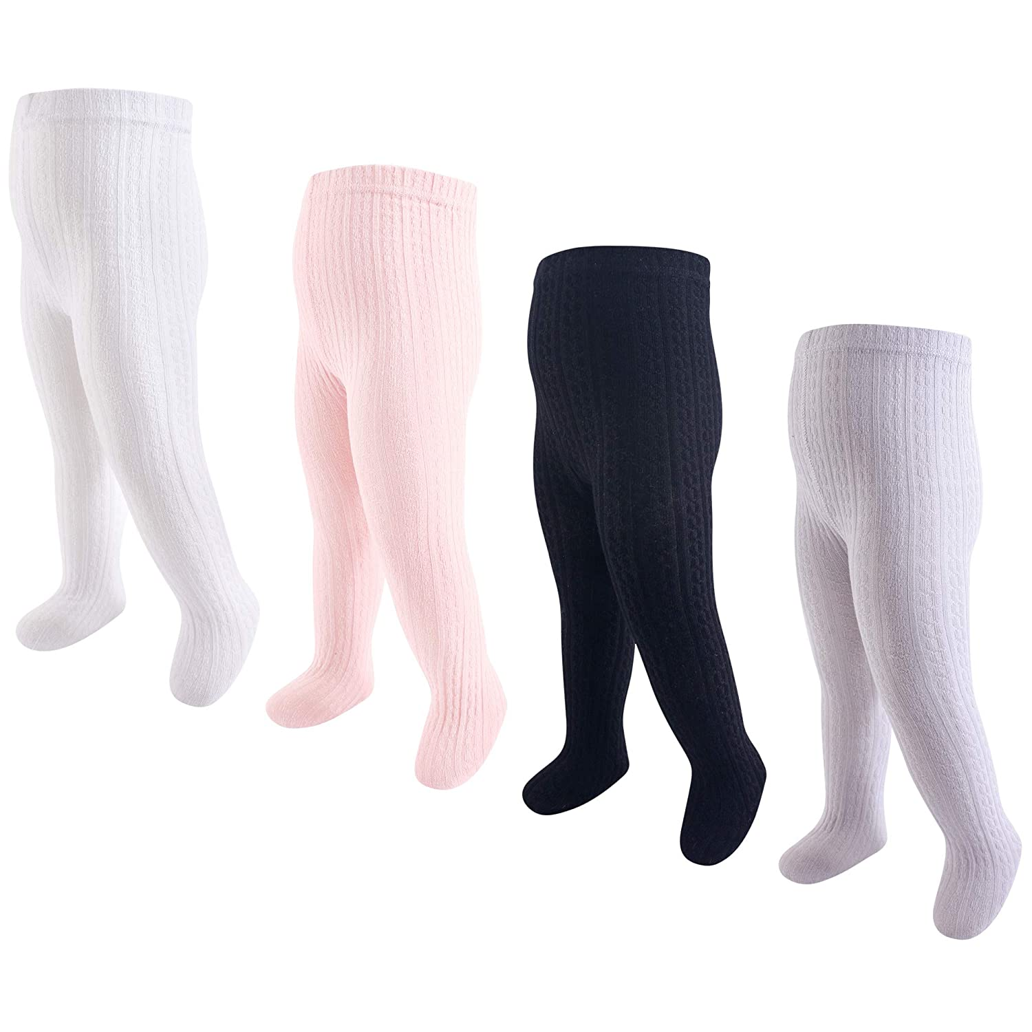 2 Pairs Little Baby Girls Basis Footed Tights Fall Solid Cotton Cable Knit Pantyhose