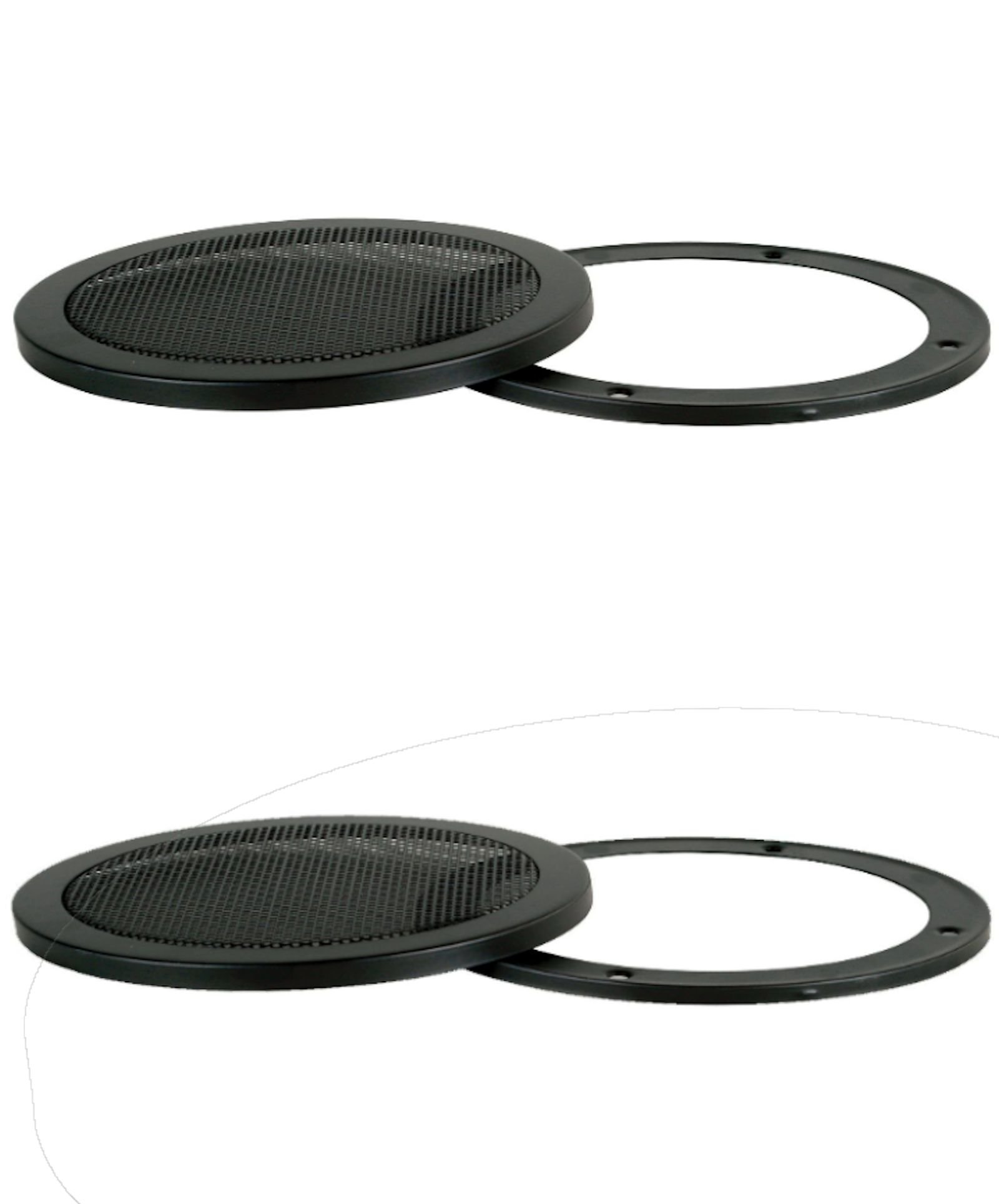 PAIR 12-Inch 2-Piece Steel Mesh Speaker Subwoofer Grill - Black