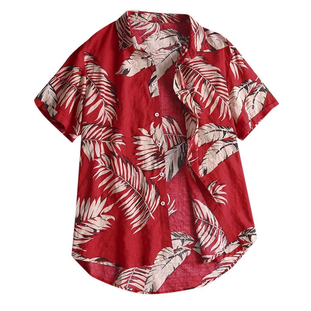 Mens Hawaiian Short Sleeve Shirt Aloha Flower Print Casual Button Down Beach Shirts