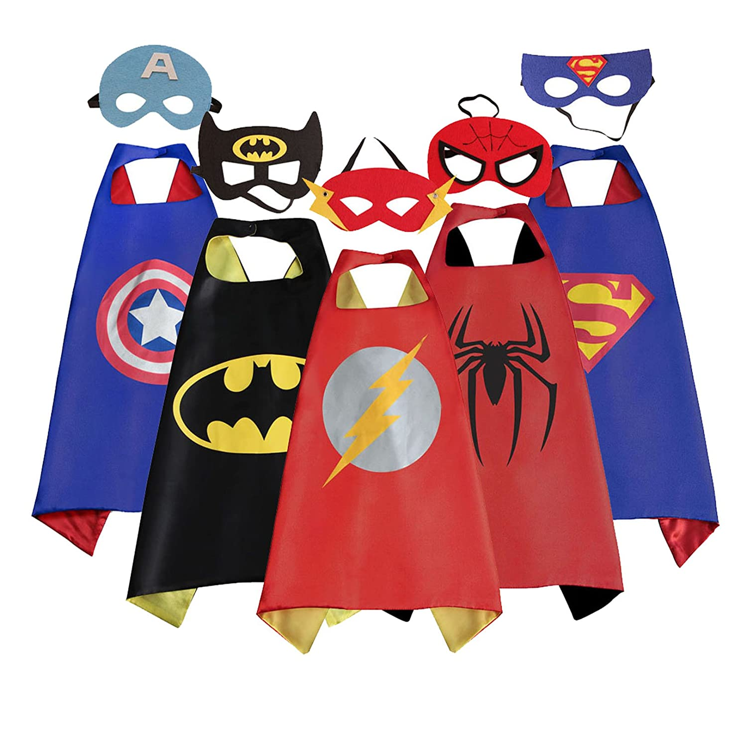 Mizzuco Cartoon Dress up Costumes Satin Capes With Felt Masks For Kids