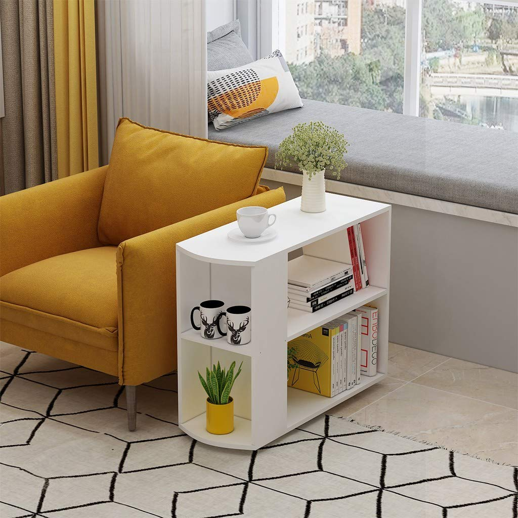 JHFUH End Table, with Brake Function Wheel Home Lazy Bedside Laptop Desk Removable Coffee Table Living Room Sofa End Table Coffee Table Side Table, 60x30x61cm by JHFUH_Table