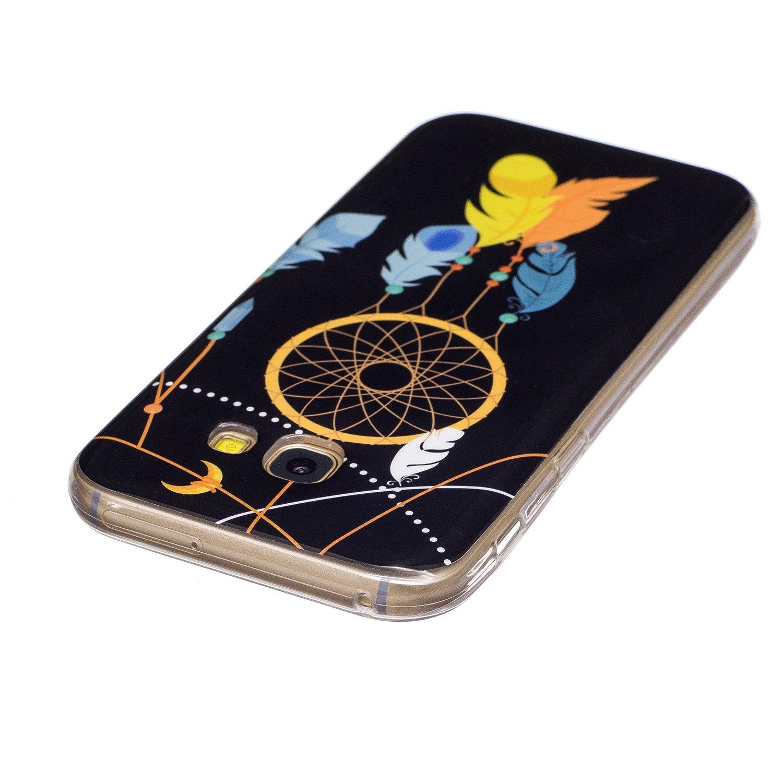 Ukayfe Compatibile con Galaxy A5 2017 Custodia Silicone,Nottilucenti Luminoso Morbido Flessibile Gel Silicone Transparente Protettiva Back Copertura Case Disegno Bella con LED Flashing Caso-Farfalla