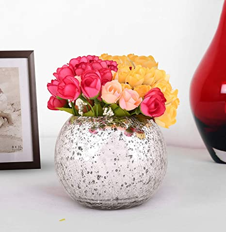 TIED RIBBONS Decorative Faux Multicolor Rose Flowers with Mercury Glass  Vase for Home Decor, Center Table, Bedroom, Side Corners, Living Room,  Dining