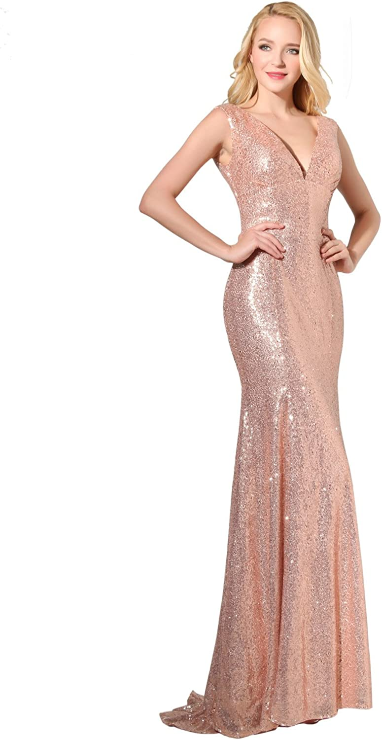 Clearbridal Women's Sequins Mermaid Prom Evening Party Dress Maxi Bridesmaid Gowns SD197 W-silver