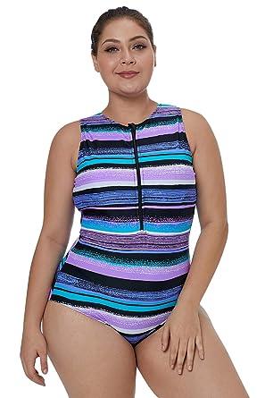 a269b60e9b Eozy Vêtement-Soutien Une Pièce Maillot de Bain à Rayure Taille Gros et  Normal Collant
