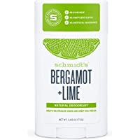 Schmidt's Natural Deodorant Stick - Aluminium Free, 24 Hour Protection, Certified Vegan, Bergamot Lime 75g