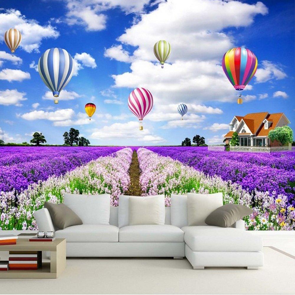 3D Photo Wallpaper Air Balloon Modern Lavender Pattern Wall Mural,Home Decor for Bedroom Living Room Sofa TV Background (125cm×80cm(49.2''×31.5''))