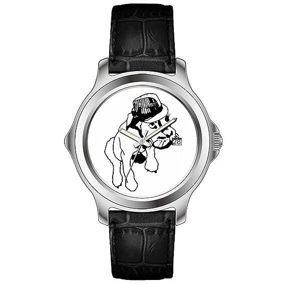 wyhj Hombres Clásico Único de piel de color negro calendario reloj Inglés Bulldog en sombrero