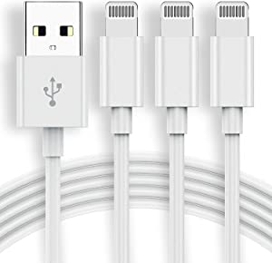 Apple Mfi Certified iPhone Charger Cable 6Ft,[3Pack] QZVOO 6 Foot Lightning Cable, 6Feet Lightning to USB-A Cord, 2.4A Fast Charging for Apple-iPhone 12 11 Pro Max Mini XR XS X 10 8 7 Plus 6 6s 5C SE