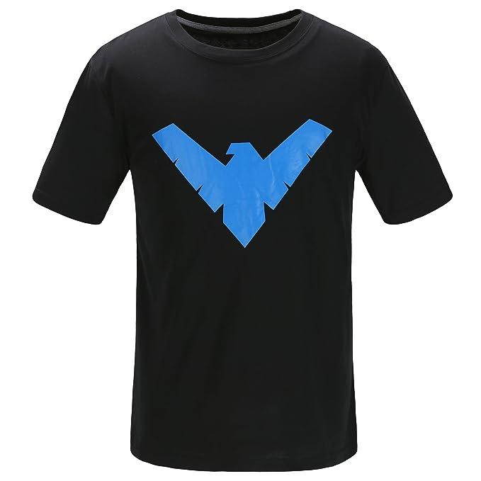 6ed7c472eb4 Justice League Batman Nightwing Logo T Shirt Short Sleeve with The Dick  Grayson Symbol – Black