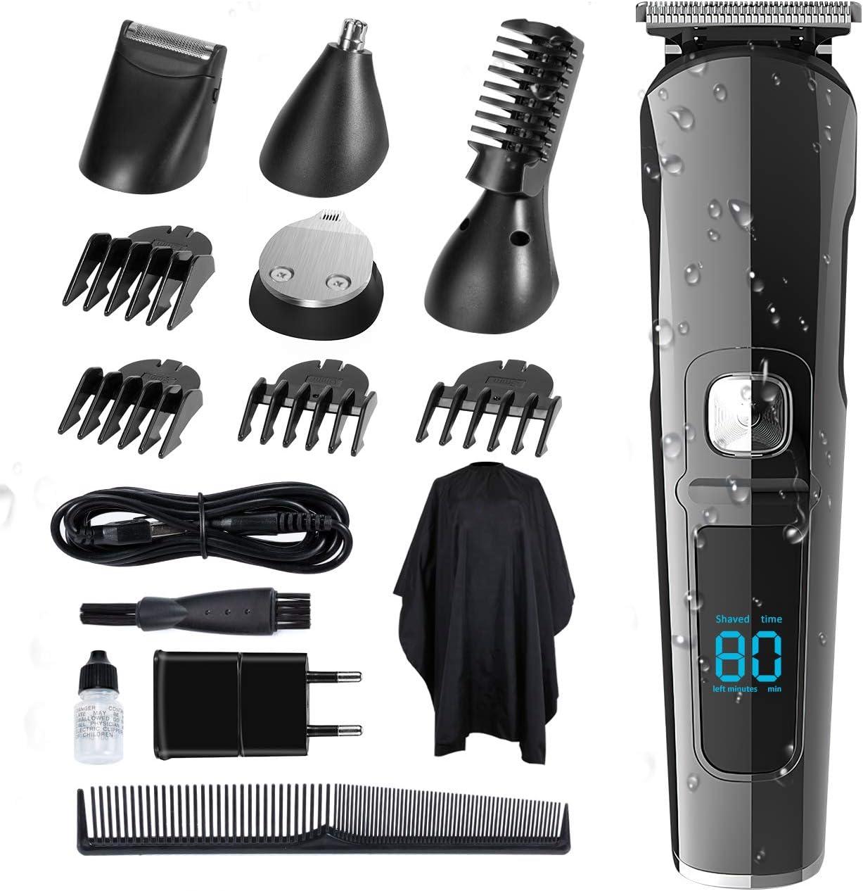 SUERW Maquina Cortar Pelo, 5 en 1 Cortapelos Hombre de Precisión para Hombres Cortadora para Hombres Maquina de Afeitar, Pantalla LED, 4 * Accesorios de Peine
