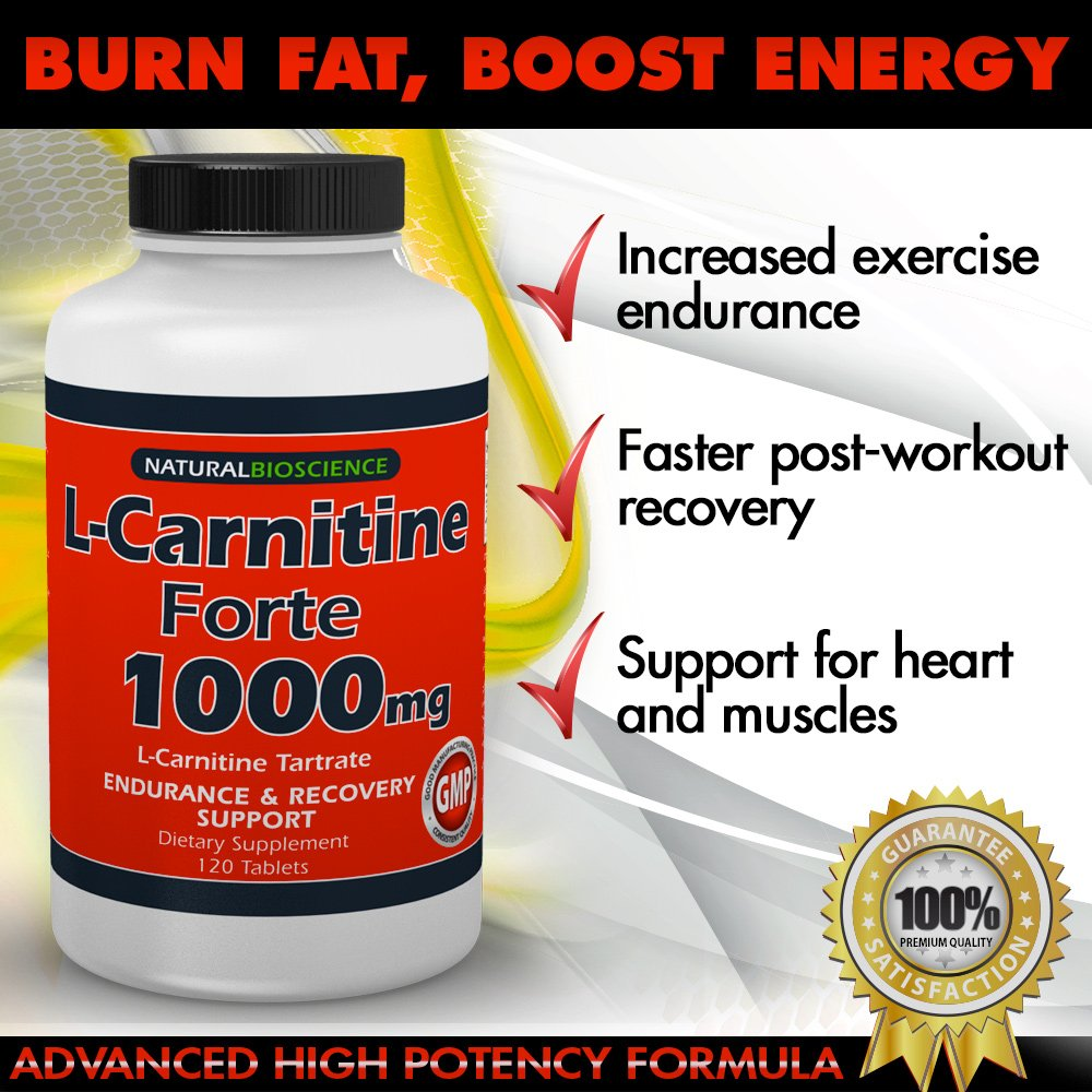 L-Carnitine - 1000mg in Each Double Potency Tablet - Double Value L-Carnitine Tartrate - Carnitine Amino Acid - Boost Energy and Endurance - High Potency L-Carnitine L-Tartrate Formula - 120 Tablets by Natural BioScience