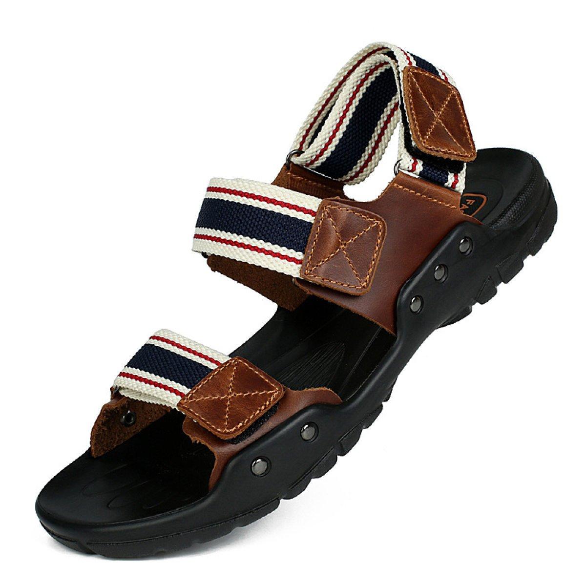 LXXAMens Verano Playa Sandalias Zapatos Al Aire Libre Cuero Real La Trenza De Nylon Zapatos De Trekking,Blue-40EU 40EU Blue