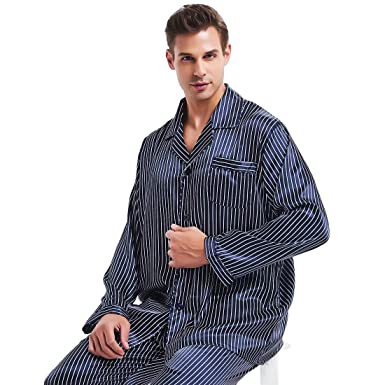 Mens Silk Satin Pajamas Set Sleepwear Loungewear S~4XL Plus Gifts at Amazon  Men s Clothing store  f5cd5a962