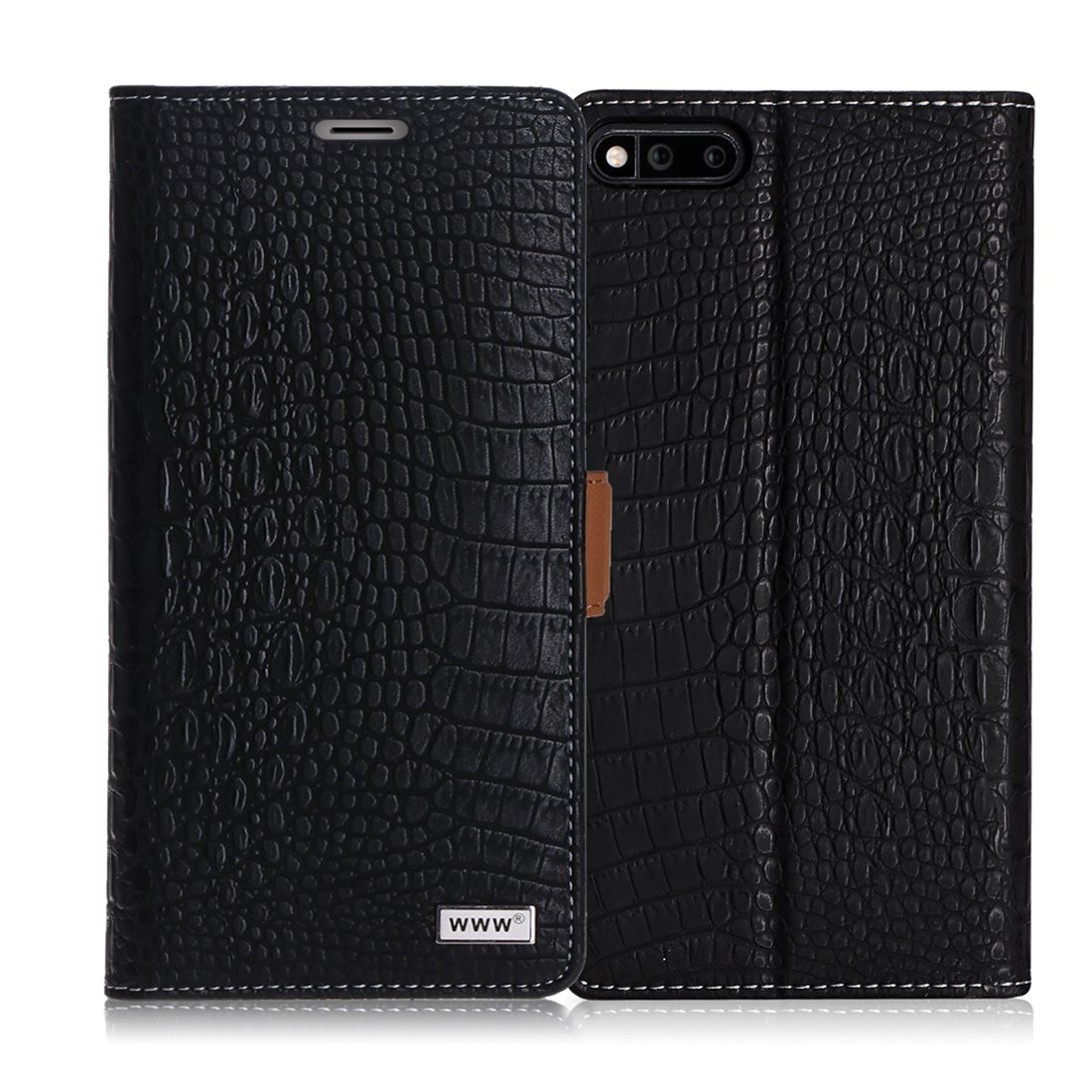 Razer Phone Case, WWW [Crocodile Pattern] Premium PU Leather Wallet Case Flip Phone Case Cover with Card Slots for Razer Gaming SmartPhone (2017 Android Model) Black