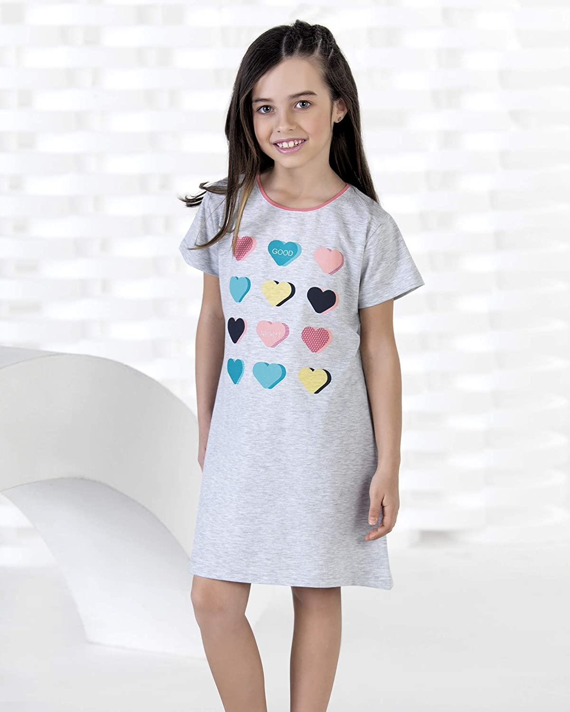 Brix Girls Short Sleeve Cotton Nightgown Super Soft Comfort Striped Nightshirt.