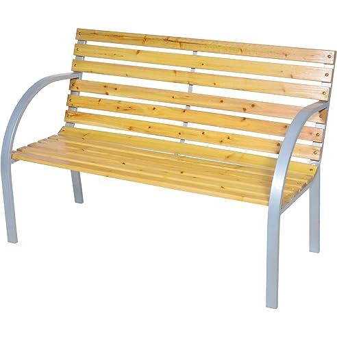 Gartenbank holz metall modern  Amazon.de: Gartenbank 122cm 2Sitzer Sitzbank Holz Metall Parkbank ...
