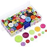 Outus 300 Pezzi Colori Assortiti Resina Bottoni 2 e 4 Fori Rotondi Bottoni del Mestiere con Plastica della Scatola per Il Cucito Fai da Te Craft