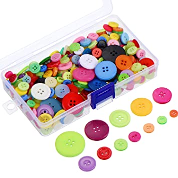 300 Piezas Botones de Resina de Colores Surtidos 2 y 4 Botones Redondos de Agujero de