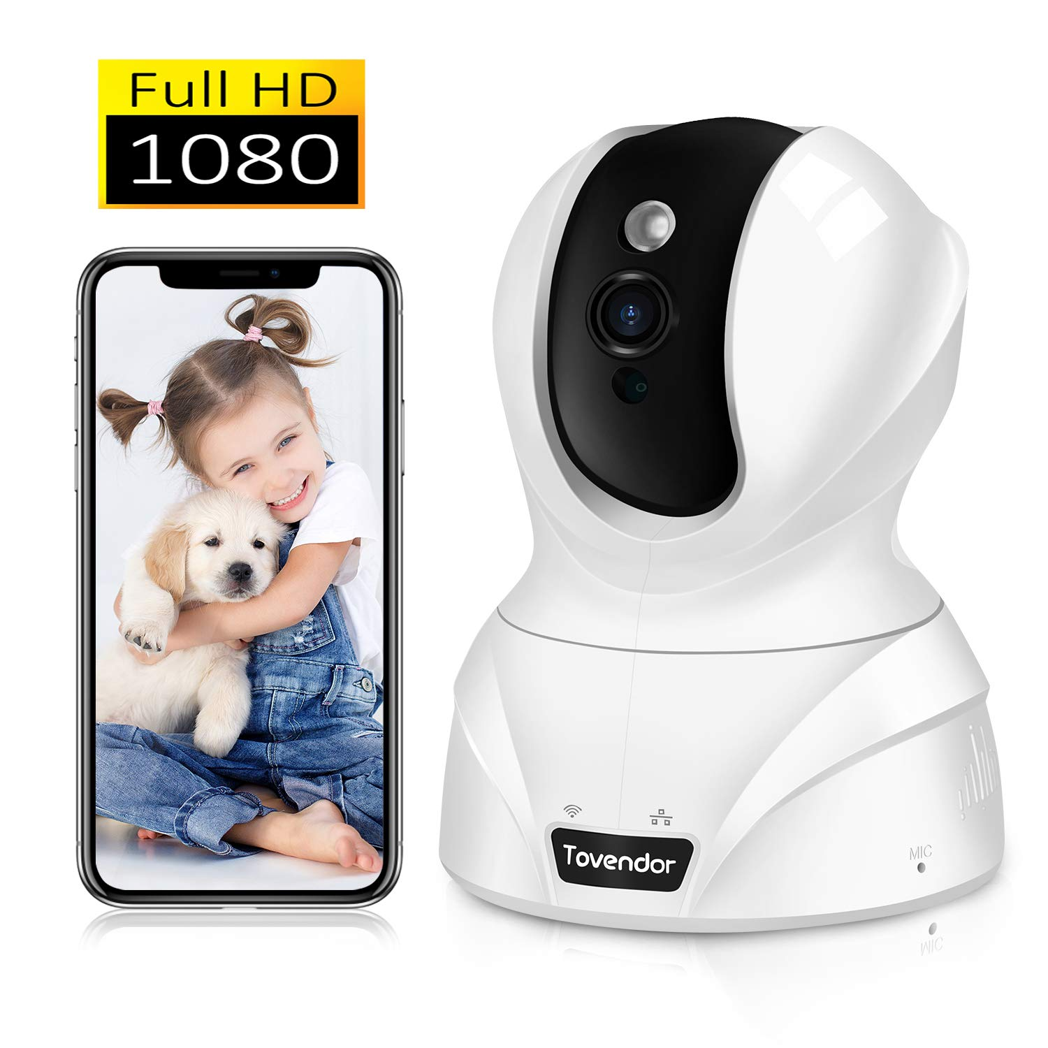 Tovendor Pet Dog Camera, 1080P Pan/Tilt/Zoom Monitor for Baby/Elderly/Nanny, Indoor Security Video Cloud Camera with IR Night Vision, 2 Way Talk