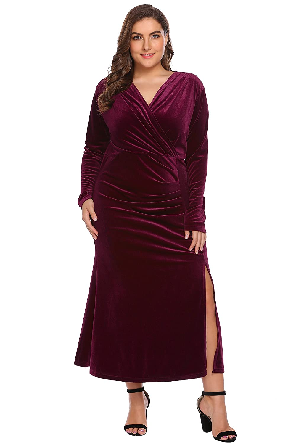 Women's Plus Size Retro 1950s V-Neck Wrap Velvet Split Hem Elegant Party Evening Maxi Dress INH022093